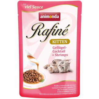 Пауч RAFINÉ KITTEN POULTRY COCKTAIL AND SHRIMPS за котенца до 12 м, 100 g