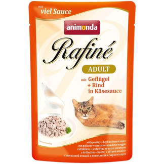 Пауч RAFINÉ ADULT POULTRY AND BEEF IN CHEESE SAUCE за котки над 12 м, 100 g