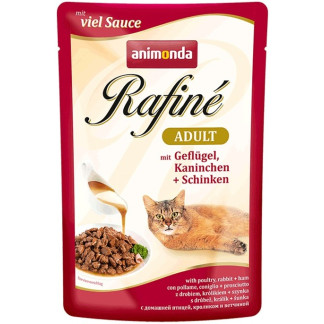 Пауч RAFINÉ ADULT POULTRY, RABBIT AND HAM за котки над 12 м, 100 g