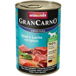 Консерва GRANCARNO ADULT BEEF AND SALMON WITH SPINACH за кучета над 12 м. с говеждо, сьомга и спанак, 400 g