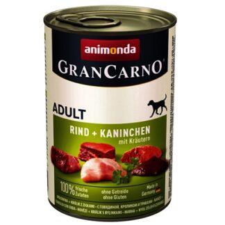Консерва GRANCARNO ADULT BEEF AND RABBIT WITH HERBS за кучета над 12 м. с говеждо, заек и билки, 400 g
