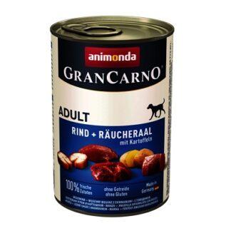 Консерва GRANCARNO ADULT BEEF AND SMOKED EEL WITH POTATOES за кучета над 12 м. с пушена змийорка и картофи, 400 g
