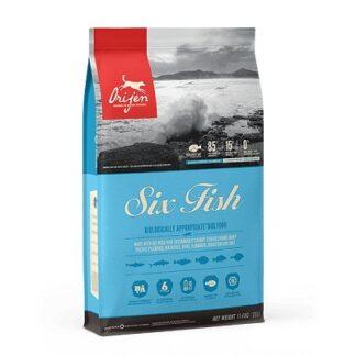 Суха храна ORIJEN SIX FISH за кучета от всички породи над 12 м, с риба, 11.4 kg