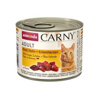 Консерва ANIMONDA CARNY ADULT BEEF, CHICKEN AND DUCK HEARTS котки над 1 год, 200 g