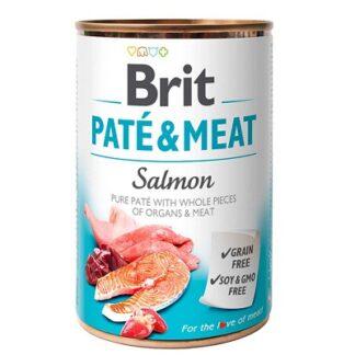 Консерва BRIT PATE & MEAT SALMON за кучета над 12 м, хапки в пастет, сьомга, 6 х 400 g