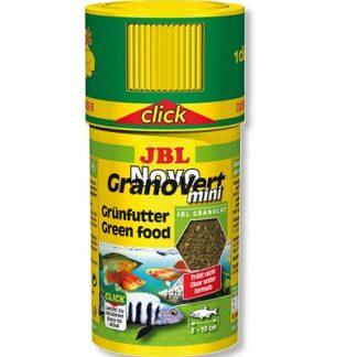 Храна на гранули JBL NOVOGRANOVERT MINI CLICK за малки растителноядни рибки (с дозатор), 100 ml