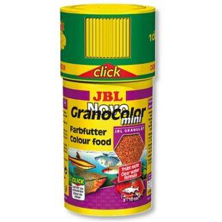 Храна на гранули JBL NOVOGRANOCOLOR MINI CLICK за подсилване на цветовете на малки рибки (с дозатор), 100 ml
