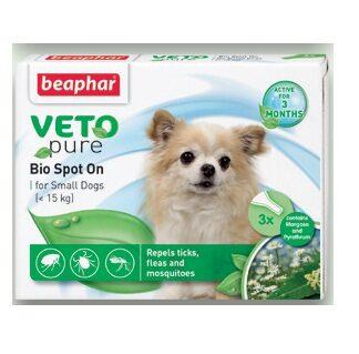 Репелентни капки за кучета от дребни породи BEAPHAR VETO PURE BIO SPOT ON DOG, 3 бр