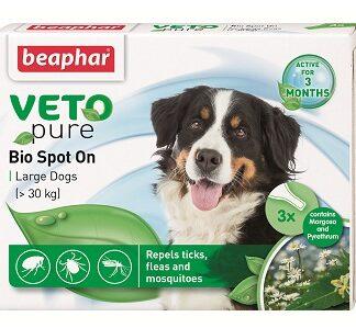 Репелентни капки за кучета от едри породи BEAPHAR VETO PURE BIO SPOT ON DOG, 3 бр