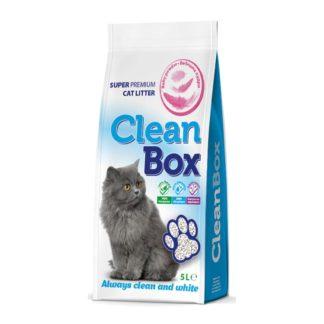 CleanBox - постелка за котешка тоалетна от бял бентонит - бебешка пудра 5 kg