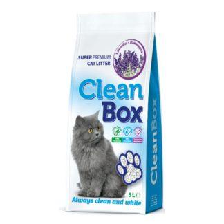 CleanBox - постелка за котешка тоалетна от бял бентонит - лавандула 5 кг