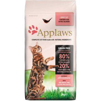 Applaws Adult Chicken with Extra Salmon - пълноценна храна с пилешко месо и сьомга, за котки над 12 месечна възраст 0.400 kg