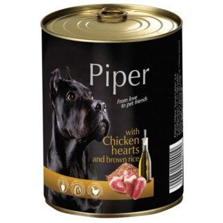 Консерва PIPER ADULT CHICKEN HEARTS AND BROWN RICE за кучета над 12 м. с пилешки сърца и ориз, 800 g