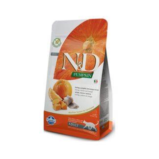 Суха храна N&D PUMPKIN HERRING & ORANGE за котки над 12 м, 300 g