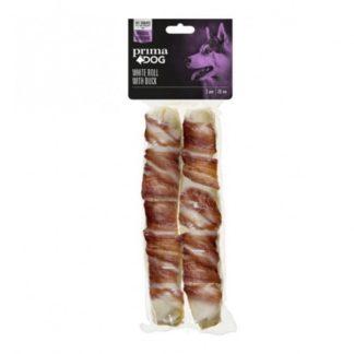 Prima Dog White Roll With duck - лакомство от обработена сурова кожа с патешко месо за здрави зъби и венци
