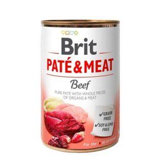 Консерва BRIT PATE & MEAT BEEF за кучета над 12 м, хапки в пастет, говеждо, 6 х 400 g