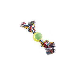 Играчка за куче CAMON A952/B COTTON ROPE BONE WITH BALL