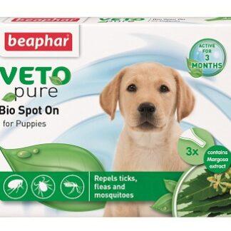 Репелентни капки за малки кученца BEAPHAR VETO PURE BIO SPOT ON PUPPIES, 3 бр