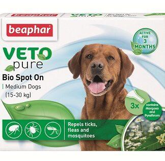 Репелентни капки за кучета от средни породи BEAPHAR VETO PURE BIO SPOT ON DOG, 3 бр
