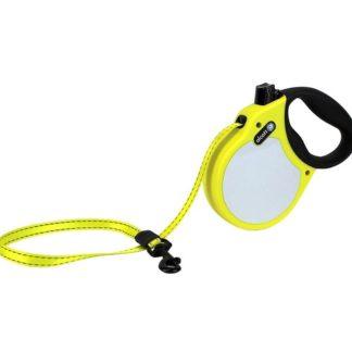 Автоматичен повод ALCOTT NEON M жълт, лента 5 м - до 30 кг