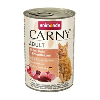 Консерва ANIMONDA CARNY ADULT CHICKEN, TURKEY AND DUCK HEARTS котки над 1 год, 400 g