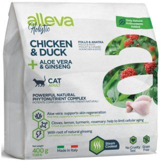 Суха храна ALLEVA HOLISTIC CHICKEN & DUCK + ALOE VERA & GINSENG ADULT за котки над 12 м, 400 g