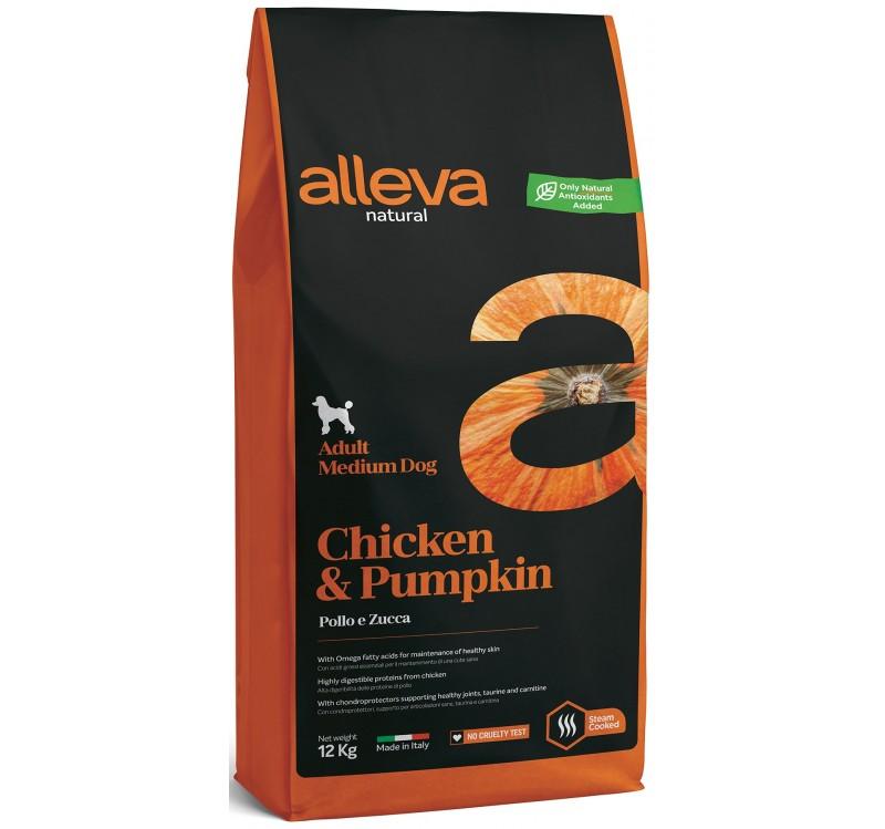 Суха храна ALLEVA NATURAL CHICKEN & PUMPKIN ADULT MEDIUM за средни породи над 12 м, 12 kg