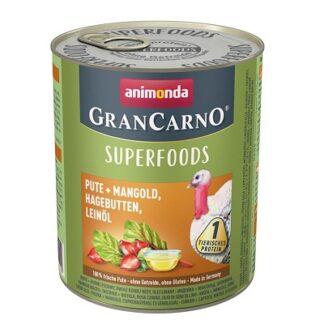 Консерва GRANCARNO SUPERFOODS TURKEY, CHARD, ROSEHIPS, LINSEED OIL пуйка, манголд, шипки, ленено масло, 800 g