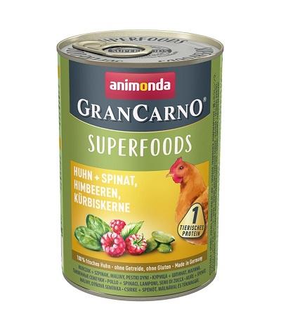 Консерва GRANCARNO SUPERFOODS CHICKEN, SPINACH, RASPBERRIES, PUMPKIN SEEDS пиле, спанак, малини, тиквено семе, 400 g