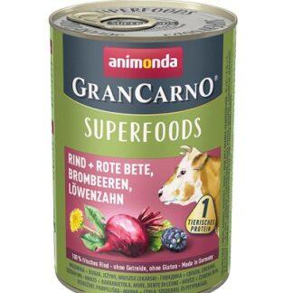 Консерва GRANCARNO SUPERFOODS BEEF, BEETROOT, BLACKBERRIES, DANDELION говеждо, червено цвекло, къпини, глухарче, 400 g