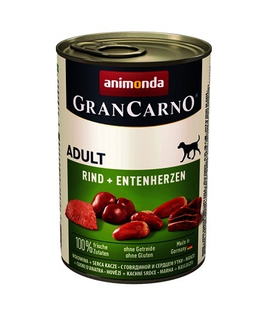 Консерва GRANCARNO ADULT BEEF AND DUCK HEARTS за кучета над 12 м. с говеждо и патешки сърца, 400 g