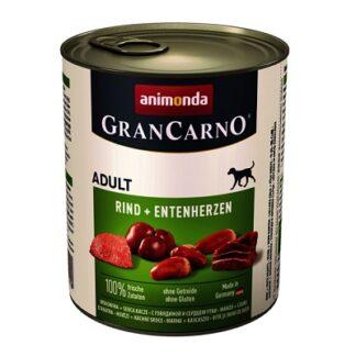 Консерва GRANCARNO ADULT BEEF AND DUCK HEARTS за кучета над 12 м. с говеждо и патешки сърца, 800 g