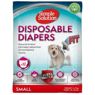 Еднократни памперси за женски кучета SIMPLE SOLUTION DISPOSABLE FEMALE DOG DIAPERS SMALL, 12 броя