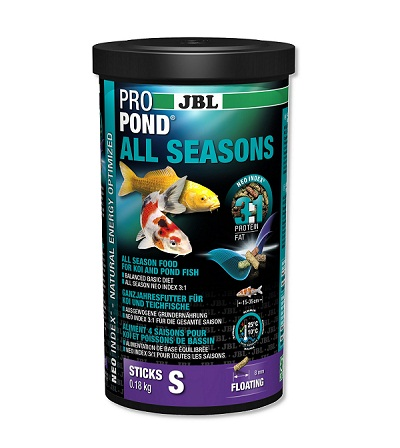Всесезонна храна на гранули JBL PROPOND ALL SEASONS S за малки езерни риби, 1000 ml