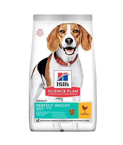 Суха храна HILLS SCIENCE PLAN ADULT PERFECT WEIGHT MEDIUM средни породи над 12 м за контрол на теглото, 12 kg