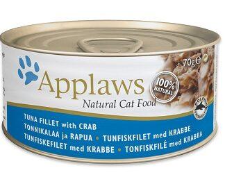 Консерва APPLAWS TUNA FILLET WITH CRAB за котки над 1 г, риба тон и раци в бульон, 70 g