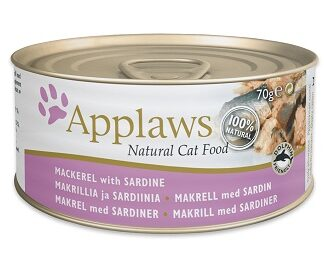 Консерва APPLAWS MACKEREL WITH SARDINE за котки над 1 г, скумрия и сардини в бульон, 70 g