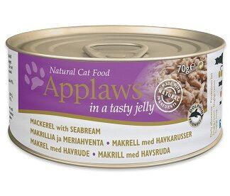Консерва APPLAWS MACKEREL WITH SEABREAM IN JELLY за котки над 1 г, скумрия и ципура в желе, 70 g