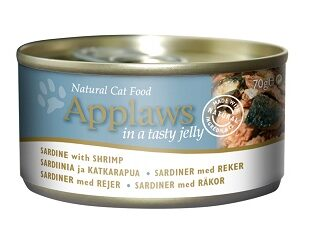 Консерва APPLAWS SARDINE WITH SHRIMP IN JELLY за котки над 1 г, сардини и скариди в желе, 70 g