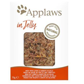 Пауч APPLAWS BEEF WITH LIVER AND CARROT IN JELLY за котки над 12 м, телешко, дроб и моркови в желе, 70 g