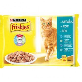 Пауч мултипак FRISKIES ADULT за котки над 1 г, риби, 4 x 100 g