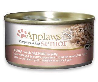 Консерва APPLAWS SENIOR TUNA WITH SALMON IN JELLY за възрастни котки над 7 г, тон и сьомга в желе, 70 g