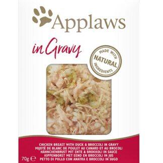 Пауч APPLAWS CHICKEN BREAST WITH DUCK AND BROCCOLI IN GRAVY за котки над 12 м, пиле, патица и броколи в грейви, 70 g