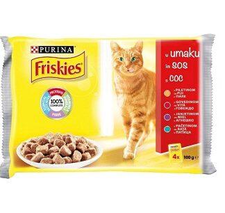 Пауч мултипак FRISKIES ADULT за котки над 1 г, микс месо 4 x 100 g