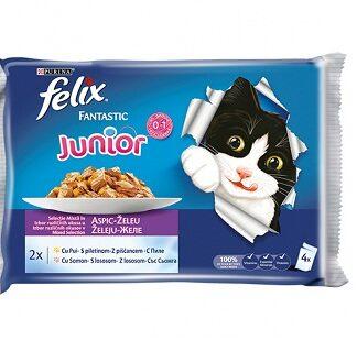 Пауч мултипак FELIX FANTASTIC JUNIOR за котки до 12 м, сьомга и пиле в желе, 4 x 100 g