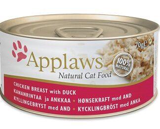 Консерва APPLAWS CHICKEN BREAST WITH DUCK за котки над 1 г, пиле и патица в бульон, 70 g