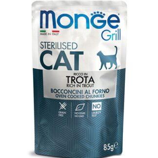 Пауч MONGE GRILL STERILISED CHUNKIES IN JELLY TROUT за кастрирани котки, хапки в желе с пъстърва, 85 g