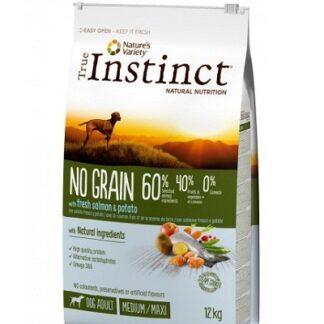 Суха храна TRUE INSTINCT NO GRAIN WITH SALMON AND POTATOES MEDIUM/MAXI ADULT за кучета средни и едри породи над 12 м, без зърно, сьомга, 12 kg