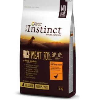 Суха храна TRUE INSTINCT HIGH MEAT CHICKEN MEDIUM/MAXI JUNIOR за кученца средни и едри породи до 12 м, без зърно, пиле, 12 kg