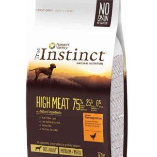 Суха храна TRUE INSTINCT HIGH MEAT CHICKEN MEDIUM/MAXI ADULT за кучета средни и едри породи над 12 м, без зърно, пиле, 12 kg